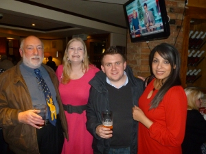 l-r: Frank, Helen, Stuart E and Sam with pre-dinner drinks