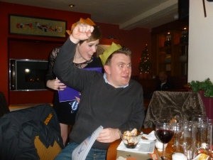 Club Captain Katie presenting new Club Secretary Stuart with his Christmas Award last December