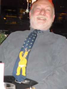 Frank in last year's novelty tie at our Christmas club social