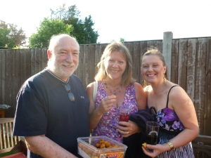 l-r: Frank, Diane and Kerry enjoying Het's Indian nibbles