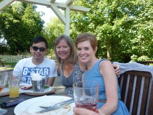 l-r: Mike T, Diane and Katie enjoying the tasty pub grub