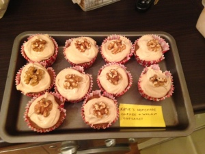 Taking a turn as a domestic goddess with these coffee and walnut cupcakes