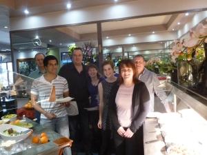 Group photo at the buffet! l-r: Nick, Joel, David, Janet, Katie, Caroline and John