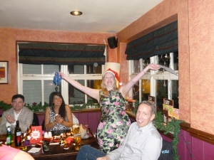 Helen receiving her 'Most Sociable Player' award at the Christmas social 2013