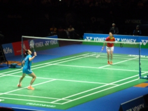 The ladies singles in action