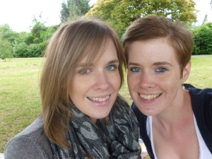 l-r: Jess and Katie hogging base camp in the park